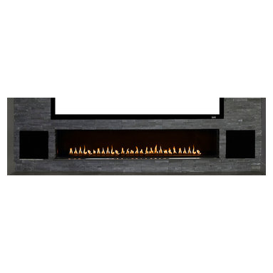 Home Entertainment Center with Custom Fireplace - The owner of the project shown requested a nine foot linear fire feature to go beneath an equally large screen. This was being installed into a 500 square foot room with an eight foot ceiling. For this project, the VGF custom team has to serviously consider issues regarding heat.