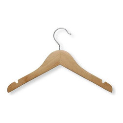 Honey Can Do - Kid's Basic Shirt Hanger in Maple Finish - Pa - Kid-sized. Perfect for kids clothing. Smooth finish. Prevents splintering. Limited lifetime warranty. 12 in. L x 0.45 in. W x 7.5 in. H (0.133 lbs.)Honey-Can-Do HNG-01224 5-Pack Kid's Wooden Hangers, Maple. This versatile, quality clothes hanger is perfect for child-size clothing. The large rod hook is designed to fit over any closet hanging bar. Integrated accessory notches keep small dresses and tank tops neatly in place. A big help in the laundry room, these hangers are also great for air-drying clothes.