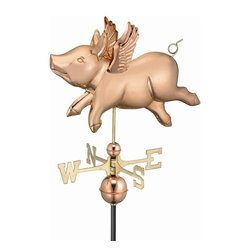 Good Directions, Inc. - Good Directions Flying Pig Weathervane - Polished Copper - A flying pig is a happy pig. This one can't wait to spread his wings and soar over the rooftop of your house, barn, garage, or cupola. Our Good Directions artisans use Old World techniques to handcraft this fully functional, standard-size weathervane that's unsurpassed in style, quality and durability. A great gift for folk art enthusiasts!