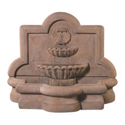 Large Shell Quatrefoil Wall Fountain, Country Oak - This sea inspired wall fountain will make your garden setting more relaxing to you and your guests because of the gentle streaming water sound it creates. It's designed by highly professional artists in the USA and is made of very durable material. You definitely will impress everyone who sees it and it's a great way for you to create a serene environment for your family.