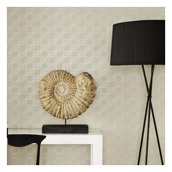 Graham & Brown - Enigma Wallpaper - This sophisticated geometric wallpaper was inspired by screen panels, one of Kelly_s favourite design secrets, this taupe design is a new Kelly classic that will continue to adorn the walls of our homes for years to come. Screens allow you to create privacy within rooms without compromising on natural light, this stylish circular design has metallic highlights that reflect light back into the room creating a feeling of space.