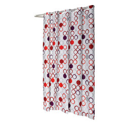 "Extra Long, EZ-ON ""Bohemia"" Polyester Shower Curtain - ""Ez On"" Fabric shower curtain with built in shower curtain hooks: extra long size 70"" wide x 84"" long; pattern name ""Bohemia"". Give your bathroom a hassle-free boost of vitality with our Extra Long (70'' wide x 84'' long) EZ-ON ""Bohemia"" Shower Curtain. Using patented Hookless technology, our EZ-ON curtains come with built in flat top rings that simply snap on to your existing shower curtain rod--pesky hooks no longer required. Additionally, this 100% polyester curtain resists water and is machine washable. ""Bohemia"" is also available in standard, extra wide, and shower stall sizes.   Machine wash in warm water, tumble dry, low, light iron as needed"