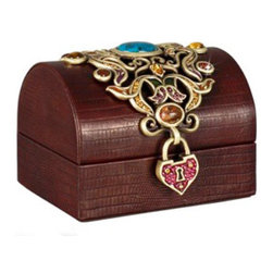 Jay Strongwater - Jay Strongwater Lolita Treasure Leather Box - Jay Strongwater Lolita Treasure Leather Box  -  Size: 4.5 inches wide x 3.25 inches tall  -  Color: Spice  -  Hand-Painted Enamel Over Metal  -  Hand-Set With Swarovski Crystals  -  Made In U.S.A. by Jay Strongwater Creations  -  Jay Strongwater Item Number: SDH7311 433