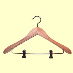 Proman Products - Cedar Contoured Suit Hanger With Clips - Cedar Contoured Suit Hanger with Clips, wide shoulder, 12 pcs / case