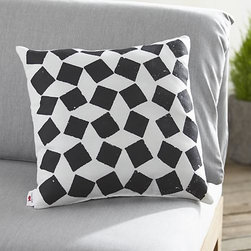"""Party Zellij 20"""" sq. Outdoor Pillow - Joyful combinations of cheerful graphics and eclectic collages celebrate high-spirited gatherings, small and grand. Black and white patterns a casual checkerboard in weather-resistant polyester, taking its cue from the techniques and art of Moroccan terracotta tiling called """"zellij."""""""