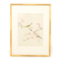 Vintage Cherry Blossom With Green Bird #2 - Cherry Blossom with green bird #2