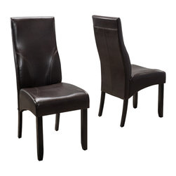 Great Deal Furniture - Dylan Brown Leather Dining Chairs (Set of 2) - The Dylan Dining Chairs are a perfect set to bring together any space in your home. They complement almost any decor and even double as extra seating. The neutral color and casual style will satisfy for years to come by offering comfort, style, and durability.