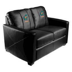 Dreamseat Inc. - University of Florida NCAA Albert Xcalibur Leather Loveseat - Check out this incredible Loveseat. It's the ultimate in modern styled home leather furniture, and it's one of the coolest things we've ever seen. This is unbelievably comfortable - once you're in it, you won't want to get up. Features a zip-in-zip-out logo panel embroidered with 70,000 stitches. Converts from a solid color to custom-logo furniture in seconds - perfect for a shared or multi-purpose room. Root for several teams? Simply swap the panels out when the seasons change. This is a true statement piece that is perfect for your Man Cave, Game Room, basement or garage.