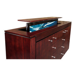 """TV lift console, US  Made Modern Buffet TV lift console comes in 5 woods - TV lift console Modern Mahogany buffet is designed by """"Best of Houzz 2014"""" for service, Cabinet Tronix. Designer US made furniture perfectly married with premium US made TV lift system."""