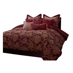 SIS Covers - SIS Covers Bordeaux Duvet Set - 6 Piece Queen Duvet Set - 5 Piece Twin Duvet Set Duvet 67x88, 1 Std Sham 26x20, 1 16x16 dec pillow, 1 26x14 dec pillow. 6 Piece Full Duvet Set Duvet 86x88, 2 Std Shams 26x20, 1 16x16 dec pillow, 1 26x14 dec pillow. 6 Piece Queen Duvet Set Duvet 94x98, 2 Qn Shams 30x20, 1 16x16 dec pillow, 1 26x14 dec pillow. 6 Piece California King Duvet Set Duvet 104x100, 2 King Shams 36x20, 1 16x16 dec pillow, 1 26x14 dec pillow6 Piece King Duvet Set Duvet 104x98, 2 Kg Shams 36x20, 1 16x16 dec pillow, 1 26x14 dec pillow. Fabric Content 1 46 Cotton 32 Polyester 22 Acrylic, Guarantee Workmanship and materials for the life of the product. SIScovers cannot be responsible for normal fabric wear, sun damage, or damage caused by misuse. Care instructions Machine Wash. Features Reversible Duvet and Shams.