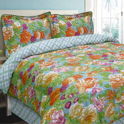 None - Delaney Caribbean 4-piece Comforter Set - Shades of green,orange purple and white lend fresh and exotic tropical flair to this whimsical Caribbean comforter set. Decorated with a blue and white geometric reverse,this on-trend bedding is conveniently machine washable.
