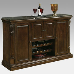Howard Miller - Howard Miller Niagara Home Bar Console - 693006 - Shop for Bars and Bar Sets from Hayneedle.com! Not only does the Howard Miller Niagara Console have an elegant style this console also has handy features that make it indispensable in a home bar. It's made of solid hardwoods and select veneers and finished in lightly distressed Rustic Cherry stain with a clear topcoat. Everyone will notice the gorgeous bar top of rare laminated Italian marble.Open up the doors and look around - you'll be surprised as just how much this console can hold. It has two removable wine rack rows that hold up to 12 bottles properly and also has a rack to hang stemware so it's easy to get to. Open the double doors to find a bottle opener towel bar and removable catch bin. There's additional storage everywhere you look and it even has a patented Pad-Lock cushioned metal shelf clips to increase stability and safety. The Niagara Console measures 18 1/8D x 64 3/4W x 42H inches and is a luxurious addition to your home bar.The Howard Miller StoryIncomparable workmanship unsurpassed quality and a quest for perfection - these were the cornerstones of the company Howard C. Miller founded back in 1926 at the age of 21. Even then Howard Miller understood the need to make products that would be steeped in quality and value.In 1989 Howard Miller began creating collectors' cabinets with the same attention to detail and craftsmanship inherent in their clock-making. Fashioned from glass and hardwoods Howard Miller cabinets are ideal for displaying heirlooms plates glassware and other collectibles.A highly respected brand Howard Miller maintains its popularity because of the company's commitment to quality. Every product manufactured at the company's sprawling facility in Zeeland Michigan undergoes stringent tests and exceeds industry standards to ensure a lifetime of enjoyment.