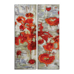 Uttermost - Hand Painted Canvas Scarlet Poppies Paintings Set of 2 - Hand Painted Canvas Scarlet Poppies Paintings Set of 2