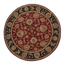 Jaipur Rugs - Jaipur Rugs Hand-Tufted Oriental Wool Red/Black Round Area Rug, 10 x 10ft - Sublime hues and graceful lines accentuate the traditional pattern motifs in Mythos, an elegant and value-driven range of durable, hand-tufted area rugs. This sophisticated collection is for the discriminating consumer with a passion for traditional design, at prices that answer every budget. The Mythos Collection is tradition, redefined.