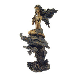 TLT - 10 Inch Hand Painted Fairy Playing Flute on Sea Turtle Statue, Bronze - This gorgeous 10 Inch Hand Painted Fairy Playing Flute on Sea Turtle Statue, Bronze has the finest details and highest quality you will find anywhere! 10 Inch Hand Painted Fairy Playing Flute on Sea Turtle Statue, Bronze is truly remarkable.