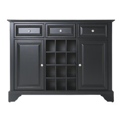 Crosley - LaFayette Buffet Server-Sideboard Cabinet with Wine Storage in Black Finish - Constructed of solid hardwood and wood veneers, this Buffet Server / Sideboard Cabinet is designed for longevity. The beautiful raised panel doors and drawers, provide the ultimate in style to dress up your home. The three deep drawers provide an abundance of storage space. Behind the two doors, you will find adjustable shelves and storage space for things that you prefer to be out of sight. The center storage area is great for up to 12 bottles of wine, or if you prefer, remove the wine storage cubes to reveal an adjustable shelf. Style, function, and quality make this Buffet Server a wise addition to your home.