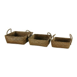 Oriental Furniture - Hand-Plaited Basket Tray With Handles, Set of 3 - Looking for an easy way to transport food, plates and utensils outside for a barbecue? This set of three trays with handles is just what you need. Woven of a durable and lightweight rush grass with strong braided handles, each tray is ideal for handling all your barbecue gear.