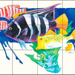 The Tile Mural Store (USA) - Tile Mural - Pb- King Angel Fish - Kitchen Backsplash Ideas - This beautiful artwork by Paul Brent has been digitally reproduced for tiles and depicts a King Angel Fish.  This tile mural featuring fish and sea life would be perfect as a part of your kitchen backsplash tile project or your tub and shower surround bathroom tile project. Images of tropical fish on tile make a fantastic kitchen backsplash idea and are great to use in the bathroom too for your shower tile project. Consider a tile mural of sealife and fish for any room in your home where you want to add wall tile with interest.
