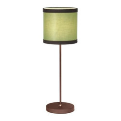 Fire Farm - Broadway Table Lamp by Fire Farm - The Fire Farm Broadway Table Lamp designed by Adam Jackson Pollock is a mid-century styled pendant with contrasting brown trim. The Broadway Table Lamp features a linen on styrene shade in your choice of flax White, green, orange or blue, a metal body with Rust finish and an In-Line Hi/Lo rotary switch. The Fire Farm collection includes contemporary and new age lighting designs using copper, cloth, mesh, and stones. It features the work of artisan designers such as Adam Jackson Pollock, Christine Williams, and Elizabeth Meredith. Made in USA.