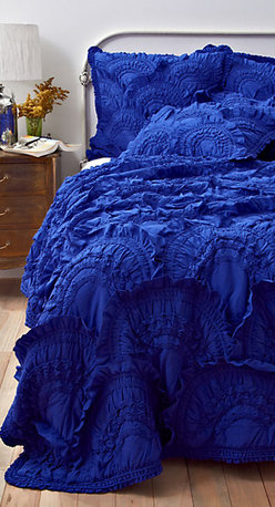 Rivulets Quilt, Cobalt - When I saw this bedding I swooned, imagining waking up in a dreamy sea of blue. It has feminine texture without being too girly.