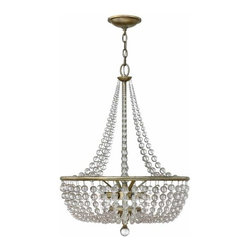 Hinkley - Caspia 4-lt Chandelier - This chic classic crystal design in a luxurious Silver Leaf finish features strands of whimsical crystals in graduating sizes.