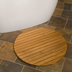 """Teak Wood Round Shower Mat - 30"""" Diameter - This slightly textured round teak wood mat helps prevent slipping, yet is smooth and safe enough to use on bare feet."""