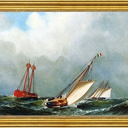 "Antonio Jacobsen-16""x24"" Framed Canvas - 16"" x 24"" Antonio Jacobsen Vision and Dauntless off Sandy Hook Lightship framed premium canvas print reproduced to meet museum quality standards. Our museum quality canvas prints are produced using high-precision print technology for a more accurate reproduction printed on high quality canvas with fade-resistant, archival inks. Our progressive business model allows us to offer works of art to you at the best wholesale pricing, significantly less than art gallery prices, affordable to all. This artwork is hand stretched onto wooden stretcher bars, then mounted into our 3"" wide gold finish frame with black panel by one of our expert framers. Our framed canvas print comes with hardware, ready to hang on your wall.  We present a comprehensive collection of exceptional canvas art reproductions by Antonio Jacobsen."