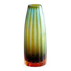 Joshua Marshal - Decorative Small Cyan-orange Strip Vase - Decorative Small Cyan-orange Strip Vase
