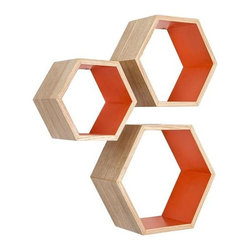 Rustic Ash Wood Hexagon Shelves - Set of 3, Orange - These Nesting Hexagon Shelves are the ultimate stylish yet functional addition to your living space. They offer a surprising amount of space to display your favorite decorative items. Showcasing the mid-century modern style, they are the perfect design element to enhance any wall.