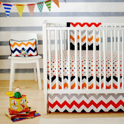 New Arrivals - New Arrivals Zig Zag Baby Crib Bedding Set - Rugby Multicolor - CRIB2-ZZB RUGBY - Shop for Bedding Sets from Hayneedle.com! The New Arrivals Zig Zag Baby Crib Bedding Set Rugby creates a fun bold statement within your little guy s charming crib space. Made of soft 100% cotton this two-piece bedding set includes a crib skirt and cozy crib sheet. Complete this crib bedding collection by adding the matching blanket and bumper (both optional). The bumper is dry clean only. The crib skirt features a colorful chevron design of red orange navy white and gray while the crib sheet displays a colorful array of polka dots. Each piece is to be cleaned by machine-washing on cold.About New Arrivals Inc.New Arrivals Inc. was started 15 years ago by mom-of-three Tori Swaim. What started as a small accessory and gift product line has grown into hundreds of products including bedding nursery and kids room decor letters and baby gifts. New Arrivals Inc. is your one-stop-shop for designing the baby nursery or kids room of your dreams.