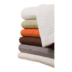 Gilden Tree - Modern Design Waffle Bath Towel - set of 2, White - Set of 2 soft, absorbent bath towels feature large waffles, narrow border with tiny waffles and bold color!  They're generously sized and look stylish and sophisticated in any bath, and are an easy way to add a pop of color and texture into an all white bath.