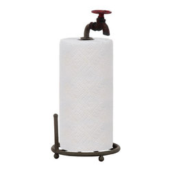 "Turn the Tides Metal Paper Towel Holder - Turn the Tides is not the typical paper towel holder your friends all have (though they will want this once they see yours).  Made from metal pipe with an old-timey faucet that keeps your rolls in place, this 15"" piece stands strong in any kitchen or bathroom setting."