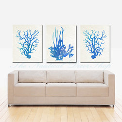 Blue Coral Print Collection - Set of THREE 8x10 prints featuring two coral prints and one sea kelp print. The sea vegetation is featured against a soft white parchment background. Oceanic shades of blue, aqua and turquoise adorn the corals in a stunning watercolor effect.