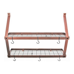 "Rogar - Double Bookshelf W/Grid, Hammered Copper/Black - Dimensions:  35""W x 8-1/2""D x 24""H"