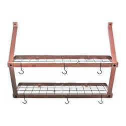 "Rogar - Double Bookshelf W/Grid, Hammered Copper/Black - Dimensions:  35""W x 8-1/2""D x 24""H"