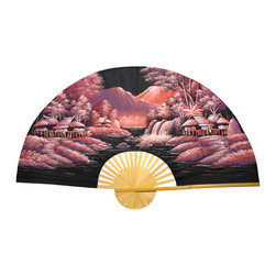 "Oriental Furniture - Red Night Fan - 40"" - This is a handcrafted Thai fan constructed using split bamboo slats and sateen fabric and painted with traditional acrylic art. The Red Night fan features a riverside village rendered in shades of rose, violet, and lavender against a black night sky and river. This Oriental artwork is a striking decorative accent for the home or office."