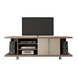 Manhattan Comfort - Carnegie TV Stand, Chocolate and Nude - Organizing a space with style is the goal of the Carnegie TV stand, which provides functionality through various compartments and beauty with its sophisticated and sturdy look. With convenient shelves underneath for your TV equipment, two compartments, and roomy end cubbies enclosed in glass, the Carnegie TV stand offers space to store DVD's, home videos, magazines, or anything else that you want to keep close by and out of sight. The TV stand has wheels to easily maneuver it into place. The dark Chocolate and Metallic Nude color is modern and tasteful, with a High gloss finish that has become the standard in the furniture market for being the most intense and durable. Pair it with the CarnegieTV panel, which offers a hassle-free solution, and enables you to mount your TV without damaging the walls. Keep the console beneath the TV clutter free, or use it to place speakers, a phone, or home decorations and picture frames. The unique paint is protected by the Microban Antibacterial Protection.