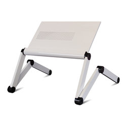 Furinno - Furinno K6-WH Premium Aluminum Lapdesk - The Furinno K6 is a more economical version of A6. With the rest of the features remain, K6 is different from A6 in the following specifications: 1) Exterior: K6 is spray painted while A6 is through frost oxidization; 2) K6 is made of thinner aluminum plate; 3) K6 desk surface is made of joint plate while A6 is made of one piece plate. Furinno K6 is an ultralight adjustable laptop table features an air-vented design that reduces overheating of your laptop, notebook, or tablet. Features: 1) Can be set in multiple angles to fit any body position, even laid back on your bed; just hold the button on the joints, change the position, and release the button to lock it in place; 2) Grooved table surface to prevent slippage, and wrist guard added for extra comfort. Weighs 5 pounds and can support up to 30 pounds; height is adjustable from 11.25 inches to a full height of 22 inches; 3) 100% aluminum alloy composition provides sturdiness and a stylish look; available in black, white, silver, and pink; 4) Collapsible frame for easy storage and portability. Suitable for laptops up to 17 inches; 5) No assembly required; product dimensions: 22(W)x11.4(D)x1.38-22.1(H) inches.