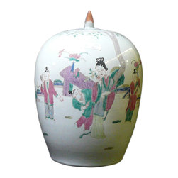 Golden Lotus - Oriental Chinese Lady & Kid Gathering Porcalin Jar - This is a traditional Chinese decoration jar white base with colorful graphic of kid & lady gathering scenery.