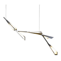 """Hubbardton Forge - Contemporary Quill Collection 16"""" Wide Vintage Platinum LED Pendant Light - Influenced by the artistry of feathers and quills this contemporary pendant light features an energy efficient LED design for cost effective savings. Finished in a vintage platinum and made of aluminum with acrylic shades that ensure ambient illumination. Adjustable hang height. From the Quill Collection by Hubbardton Forge.  Quill pendant light.  Design by Hubbardton Forge.  Vintage platinum finish.  Aluminum shades with acrylic diffusers.  Dimmable using an electronic low voltage dimmer or an LED rated dimmer.  Includes five 4.8 watt LEDs.  3000K color temperature.  Light output 1600 lumens.  Overall light output comparable to a 100 watt incandescent bulb.  Includes cable for hanging.  Can be adapted for 45 degree sloped ceilings.  16"""" wide.  46 1/2"""" high.  16"""" to 116"""" adjustable hang height."""