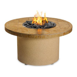Sedona by Lynx - Sedona Round Sandalwood Ice n Fire Pit with Free Cover - LFPC-S - Shop for Fire Pits and Fireplaces from Hayneedle.com! A functional accent piece for your yard the Sedona Round Sandalwood Ice n Fire Pit provides plenty of warmth that's easily maintained and controlled. A simple T-valve controls the liquid propane fuel ignited with a push-button spark ignition switch. The fire-pit is supported by a solid base made from acrylic stucco providing a place to store and attach a propane tank to the single-piece nautilus stainless-steel burner. The fire pit produces up to 65 000 BTUs of heat with a flickering frame that's odorless and smoke-free. The round table top is patterned with weatherproof sandalwood-colored porcelain tile. A stainless-steel refreshment bowl is included for use with warmer weather: fill with ice and keep drinks cold right at the table. About Lynx Professional GrillsWhen it began in 1996 Lynx Professional Grills was committed to offering grills that elevated the outdoor cooking experience to new levels. Since then the company has expanded its offerings to a full range of outdoor living products including side burners cocktail stations refrigerators and more. Since its founding Lynx has set an industry standard for innovation engineering and design. Consumers prize the easy-to-clean specially welded stainless steel which endures under the harshest of outdoor conditions and delivers restaurant-quality design right to your home patio.