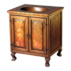 Mexican Artisans - Reclaimed Wood & Copper Sink Vanity - This old wood sink cabinet with copper top and copper sink is exquisitely hand crafted with plenty of style. The rustic look is complete with the addition of the iron hardware. From a rustic log cabin to a Southwest or Sante Fe style estate, our copper line of sinks and cabinets will add casual elegance to your decor.