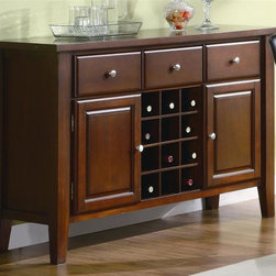 Coaster - Rodeo Server w Wine Rack - Three storage drawers. Two cabinets. Decorative knobs. Flared table bases. Made from wood and glass. Cherry finish. 52 in. W x 18 in. D x 36 in. H. WarrantyStorage and sophistication are achieved in a stylish manner with the Rodeo Server.