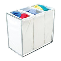 Bagstand - Triple Chrome Hamper with Cotton Bags - Our Bagstand laundry hamper holds the laundry bags upright allowing them to expand to their full capacity. The laundry bags are removable for trips to the cleaners or laundry room. The specially designed clip locking mechanisms secure the bags to the Bag Stand frame. The weight of the clothes rests firmly on the floor, so the stand will not tilt regardless of how full it may get. The design is simple but elegant, perfect for a range of decor from traditional to modern.
