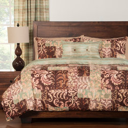 None - Barcelona 4-piece Duvet Cover Set - This reversible and washable duvet cover set features a Moroccan-chic patchwork pattern that reverses to a delicate stripe print. This exceptionally soft bedding is like getting two sets for the price of one.