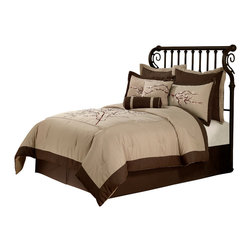 Pem America - Zen Blossom King Comforter Set with 4 Bonus Pieces - The Zen Blossom comforter set has an earthy, natural colored feel, with a taupe face framed by a deep mocha brown. The face exhibits a large scale embroidered cherry blossom tree limb with budding blossoms carefully placed throughout in soft pinks and whites. The Zen Blossom comforter set will produce a calm and relaxing atmosphere to your bedroom decor. 1 King Comforter (108x90 inches), 2 king pillow shams (20x36 inches), 2 euro shams (26x26 inches), 1 king bed skirt (78x80 inches, 14 inch drop) and 2 decorative pillows (16x16, 6x16). Filled with 100% hypoallergenic polyester. Dry clean suggested.