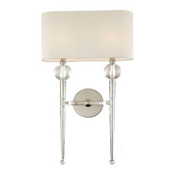 None - Hudson Valley Rockland 2-light Wall Sconce - Topped by a soft-white fabric shade,the tapered wand of the Rockland sconce showcases the glamour of shining crystal orbs. While the Polished Nickel finish projects a mirror-like shine,its warm tone complements the shadees soft hue.