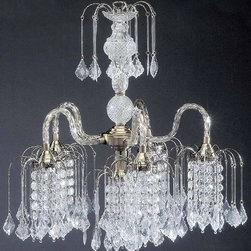 ORE International - 25 in. Hanging Chandelier in Antique Brass Fi - Requires 40W bulb (bulb not included). UL listed. Multiple arch shaped arms. Clear glass teardrops. Crystal pendants. Assembly required. 19 in. L x 19 in. W x 25 in. H (10 lbs.)What an incredible price for such an elegant and elaborate lighting fixture. This exquisite fixture is like a fountain of dazzling diamonds for your room. Ideal for your entryway or dining room, this spectacular fixture will make a lasting impression.