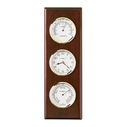 Howard Miller - Howard Miller Shore Station Maritime Wall Clock - Howard Miller - Wall Clocks - 625249 - This weather station wall clock features additional barometer and thermometer dials and has a maritime style for the home or office of any seafaring enthusiast. Polished brass tone bezels on each dial join a warm Rosewood Hall finish and the reliability of battery-operated quartz movement to complete the look and appeal of the Shore Station Maritime Wall Clock.