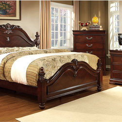 Furniture of America - Furniture of America Bastillina English Style 4-piece Cherry Poster Bedroom Set - Elegant and inviting,this 4-piece bedroom set showcases the best of English style designs while the luxurious all-over cherry finish creates an almost overwhelming air of sophistication. A true example of traditional wood furniture.